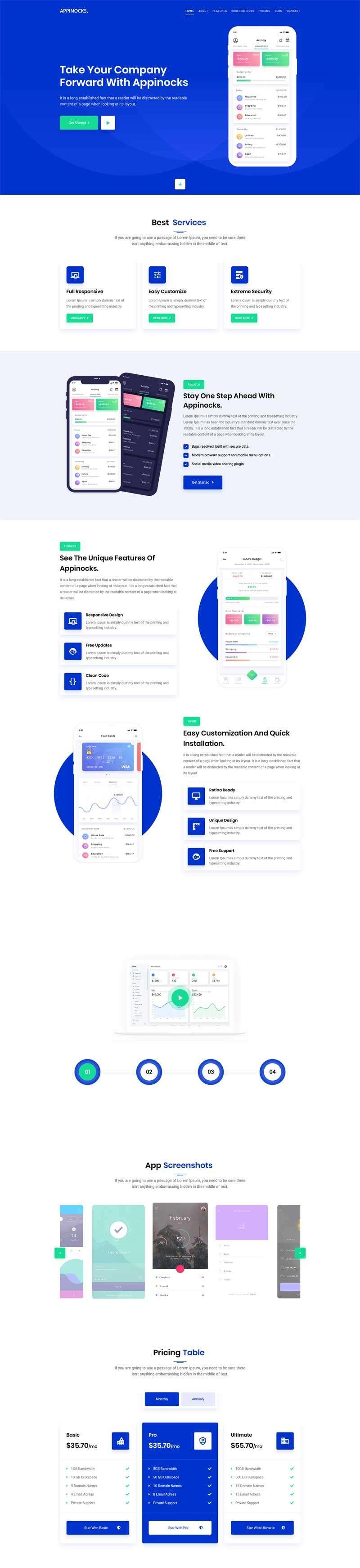 手机app应用程序官网html模板