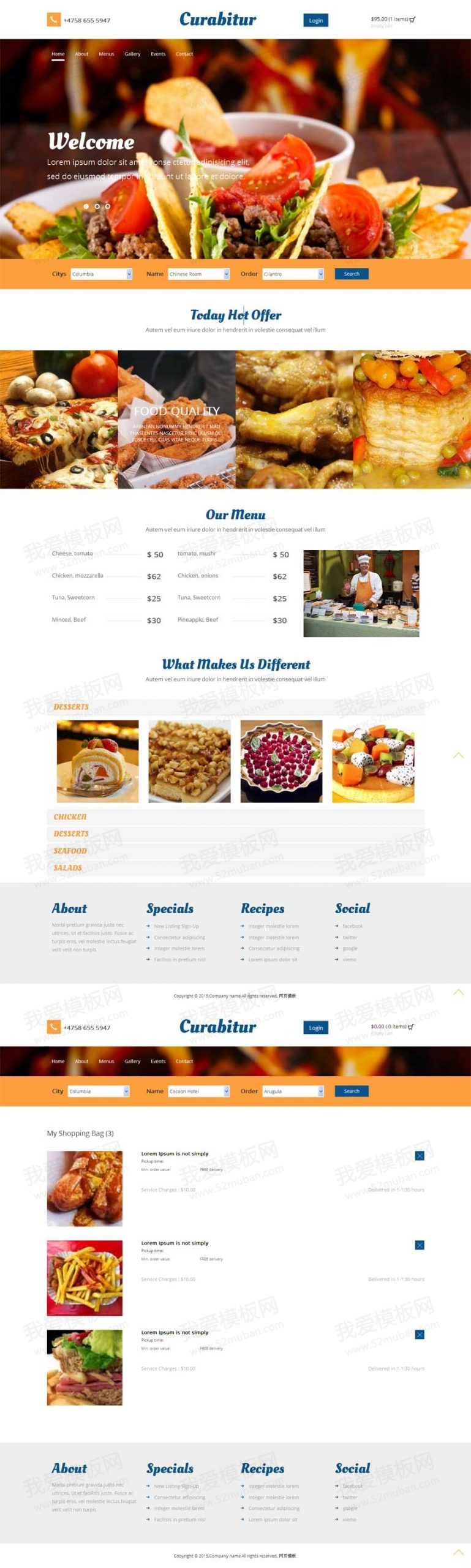 国外响应式网上蛋糕店订餐购物网站模板html