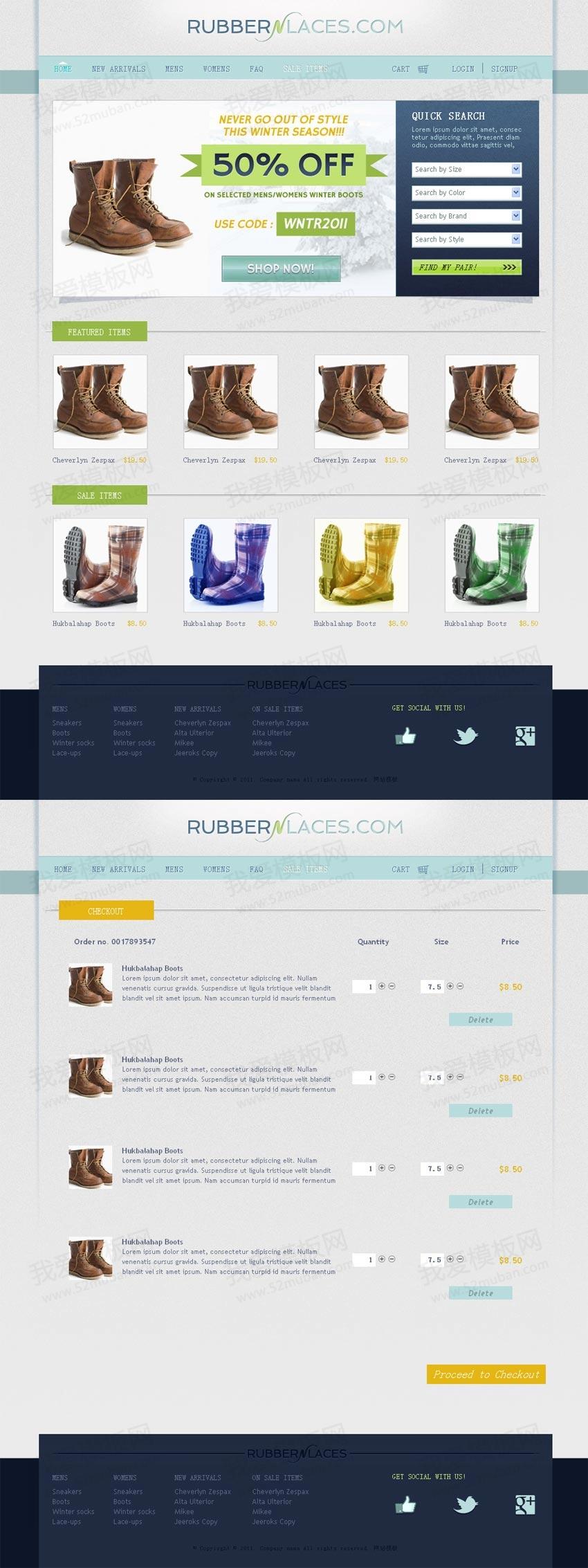 国外简洁的鞋子专门店网上购物商城模板html源码下载
