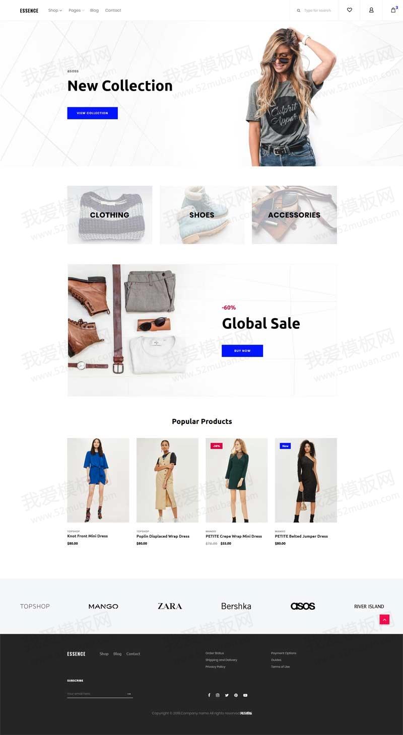 大气的服装鞋包品牌商城模板html下载