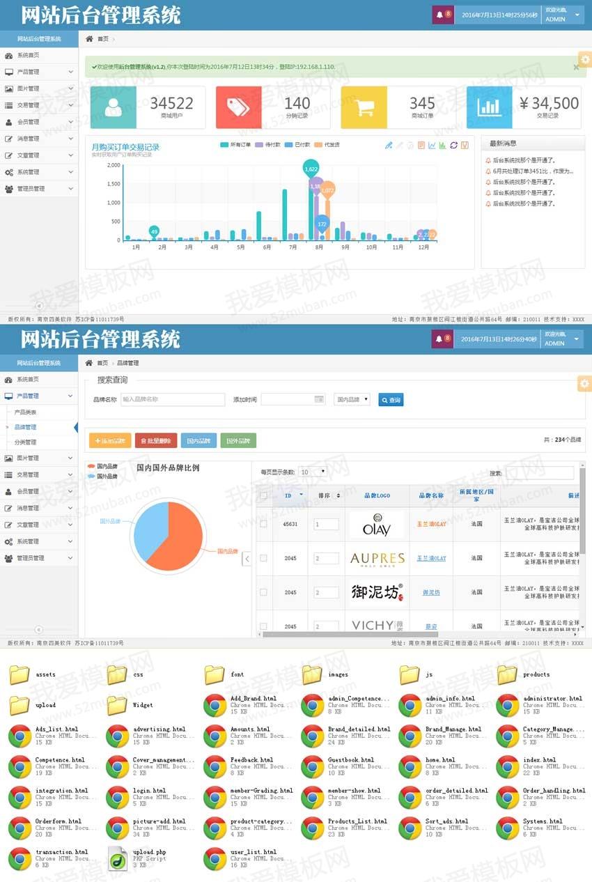 蓝色的网站商城后台通用管理模板html源码