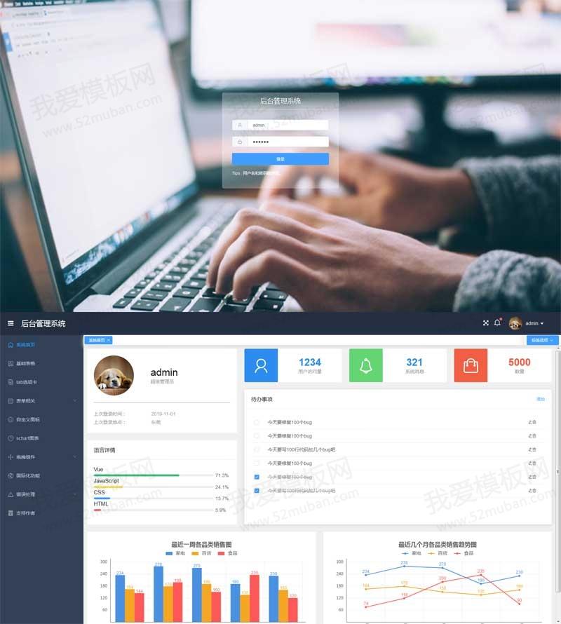 vue多用途的产品营销统计管理模板