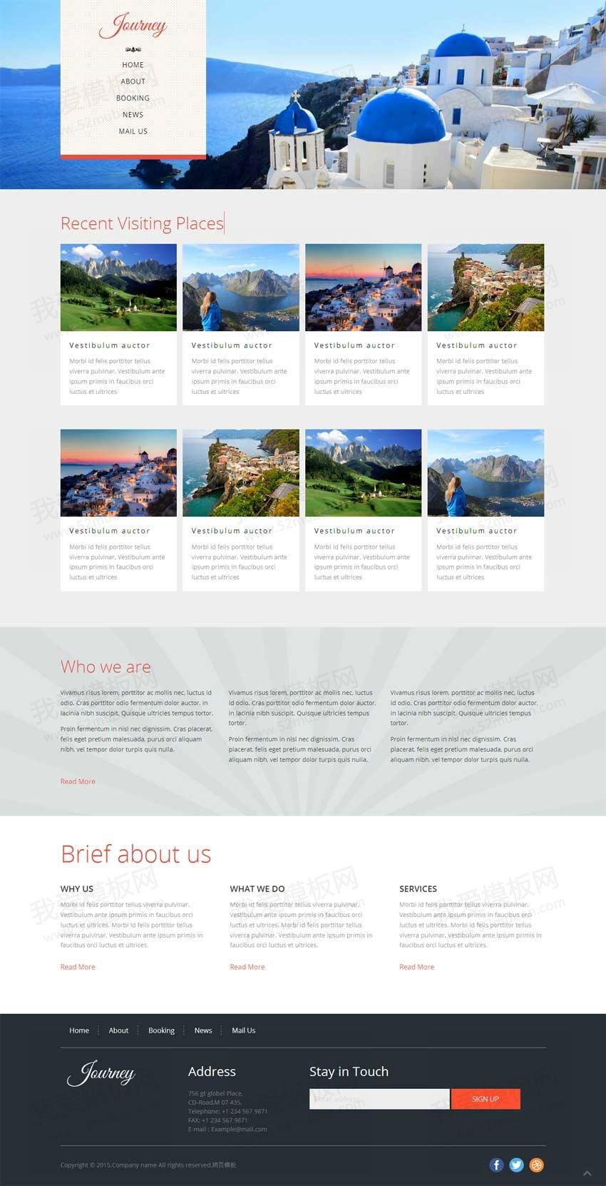 国外简洁的景点旅游网站模板下载