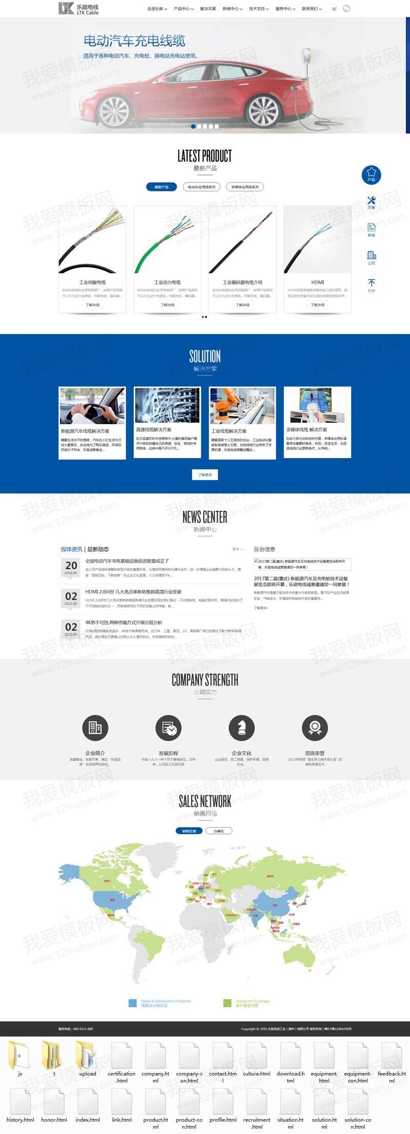 响应式的电线工业公司网站html模板